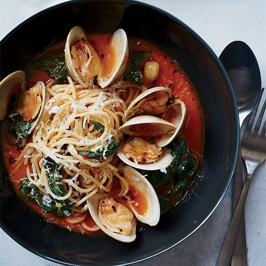 Spaghetti with Clams & Braised Greens